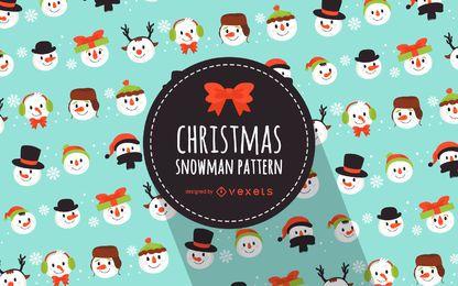 Padrão de bonecos de neve de Natal plana