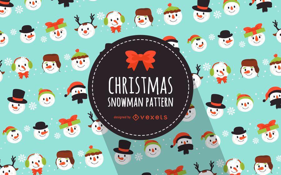 Patrón de muñecos de nieve de Navidad plana