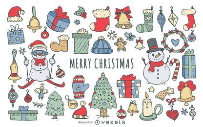 Colorful Christmas doodles collection