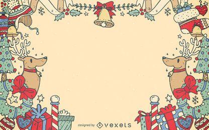 Marco de elementos decorativos de navidad.
