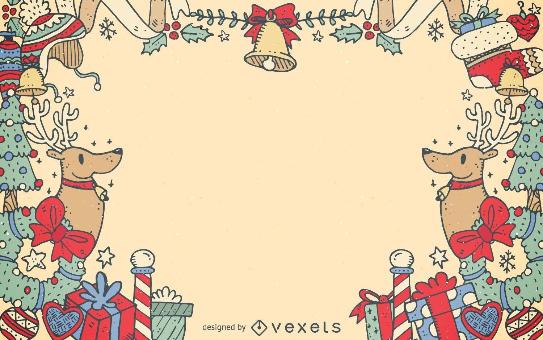 Marco de elementos decorativos navide?os