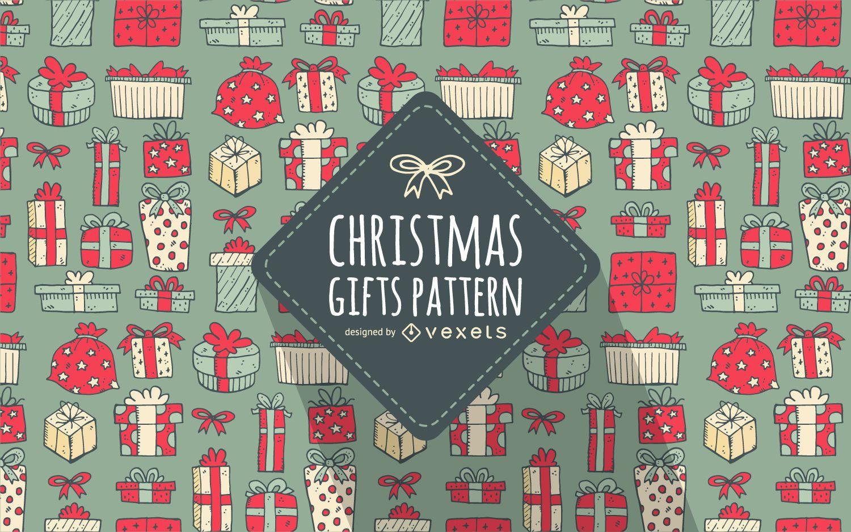 Patrón de regalo de Navidad dibujado a mano