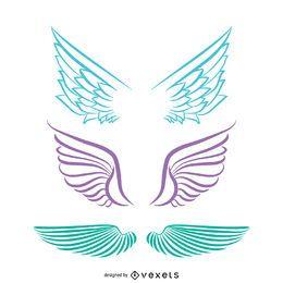 Dibujos de alas de angel aisladas