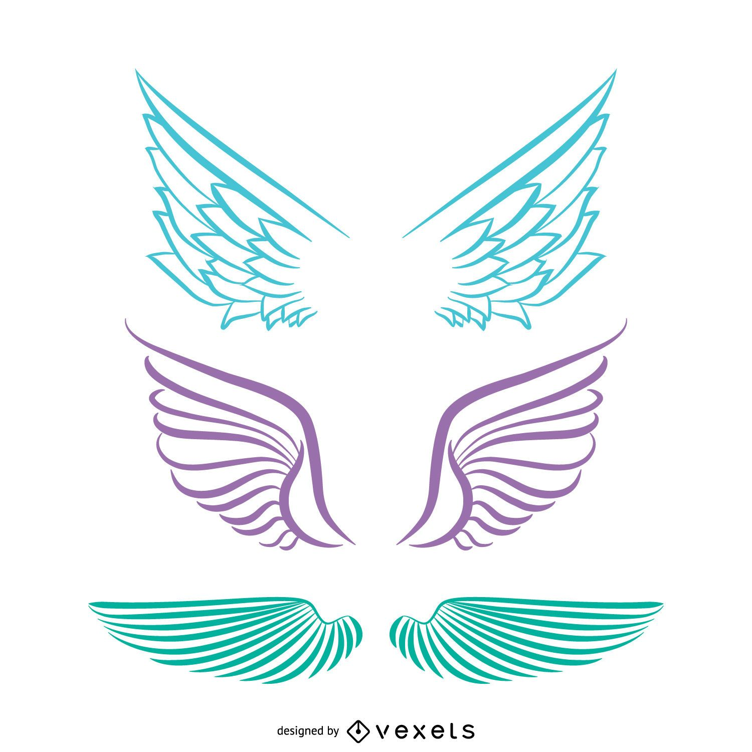 Isolated angel wings drawings