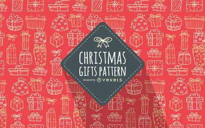 Weihnachtsgeschenk kritzelt roten Hintergrund des Musters