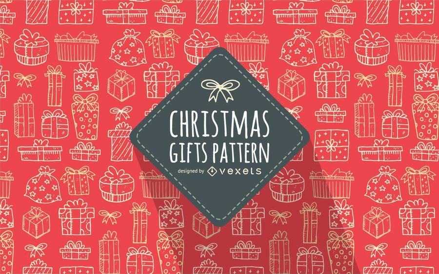 Presente de Natal doodles padrão fundo vermelho