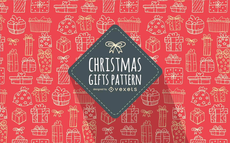 Regalo de navidad garabatos patrón fondo rojo