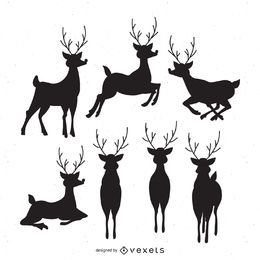 7 deer silhouettes set