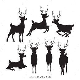 Conjunto de 7 siluetas de ciervos