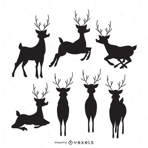 7 deer silhouettes set