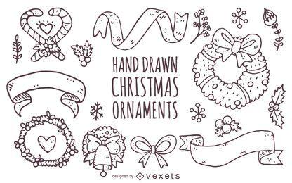 Colección de adornos navideños dibujados a mano.