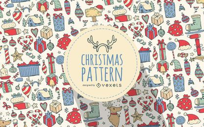 Christmas drawn elements pattern