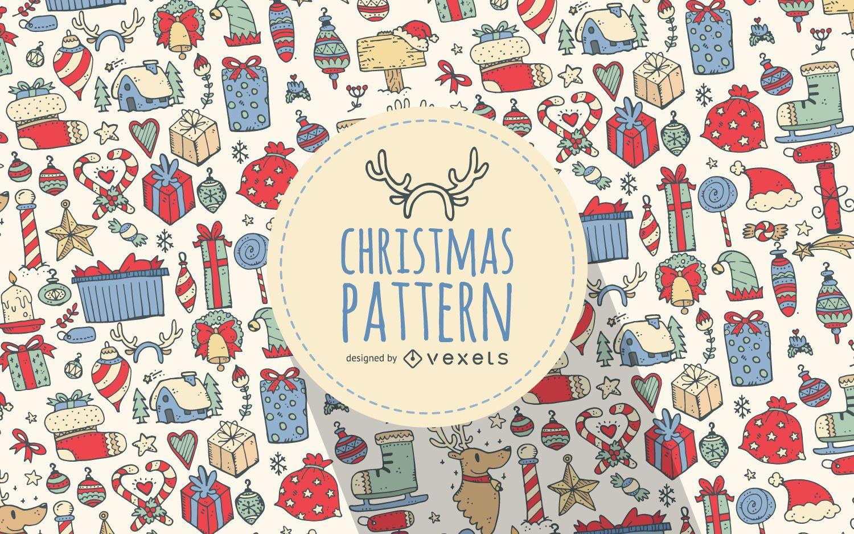 Patrón de elementos dibujados de navidad