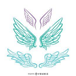 Ilustração de asas de anjo de tons pastel