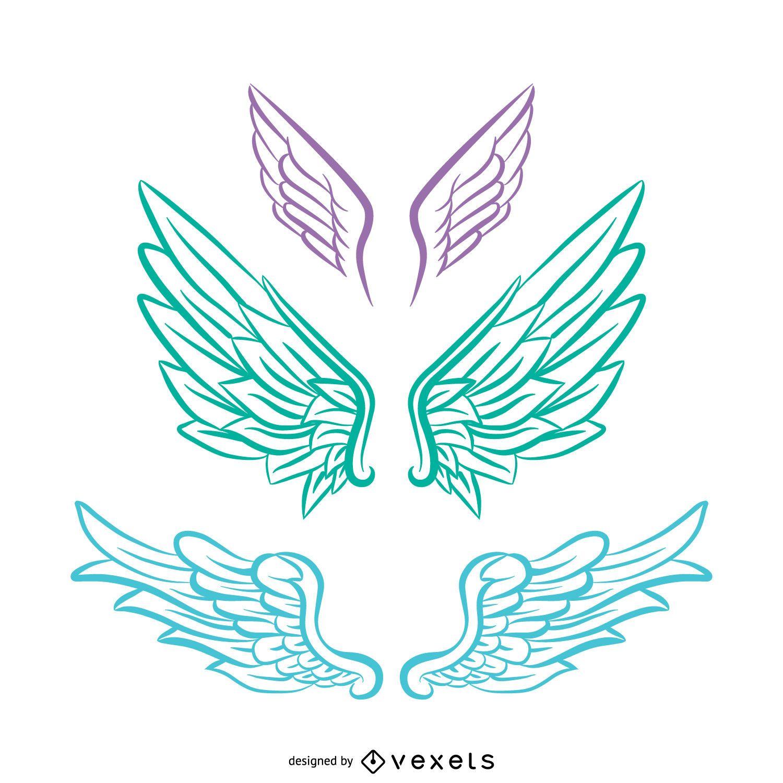 3 angel wings line art vector download pastel tones angel wings illustration biocorpaavc