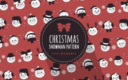 Patrón ilustrado de muñecos de nieve navideños