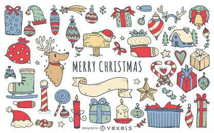 coleção doodles Feliz Natal