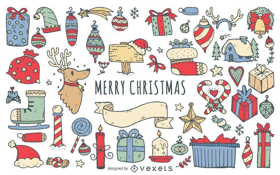Feliz navidad garabatos colección