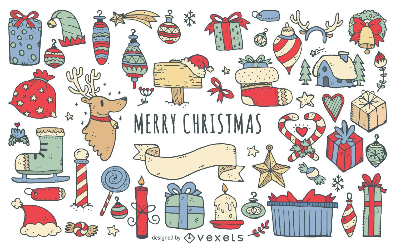 Merry Christmas doodles collection