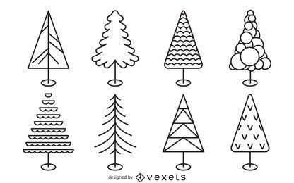 Conjunto de contornos planos de árboles de Navidad
