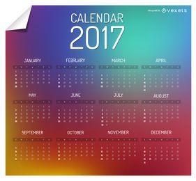 Colorido calendario 2017