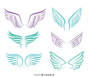 Line art angel wings set