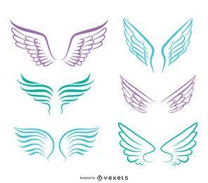 Line art angel wings set