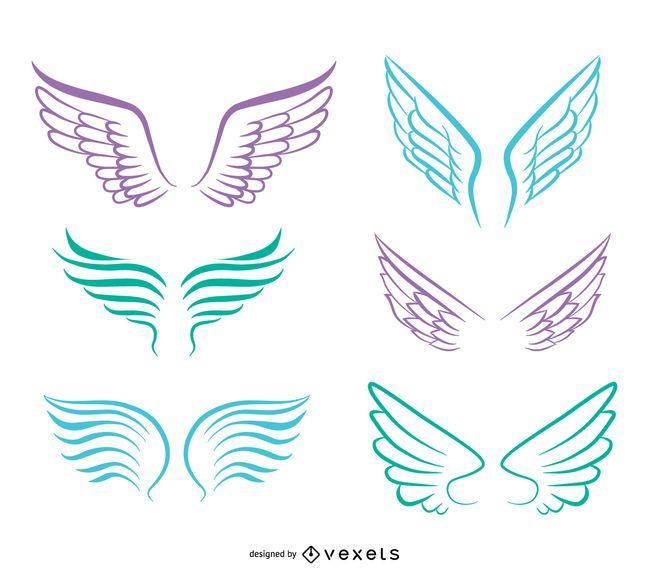 Conjunto de asas de anjo de arte linha