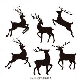 Reindeer silhouette illustration set