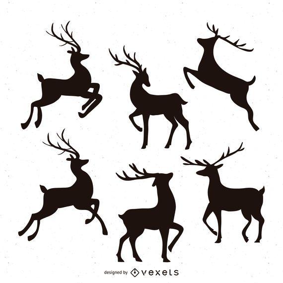 Conjunto de ilustração de silhueta de renas
