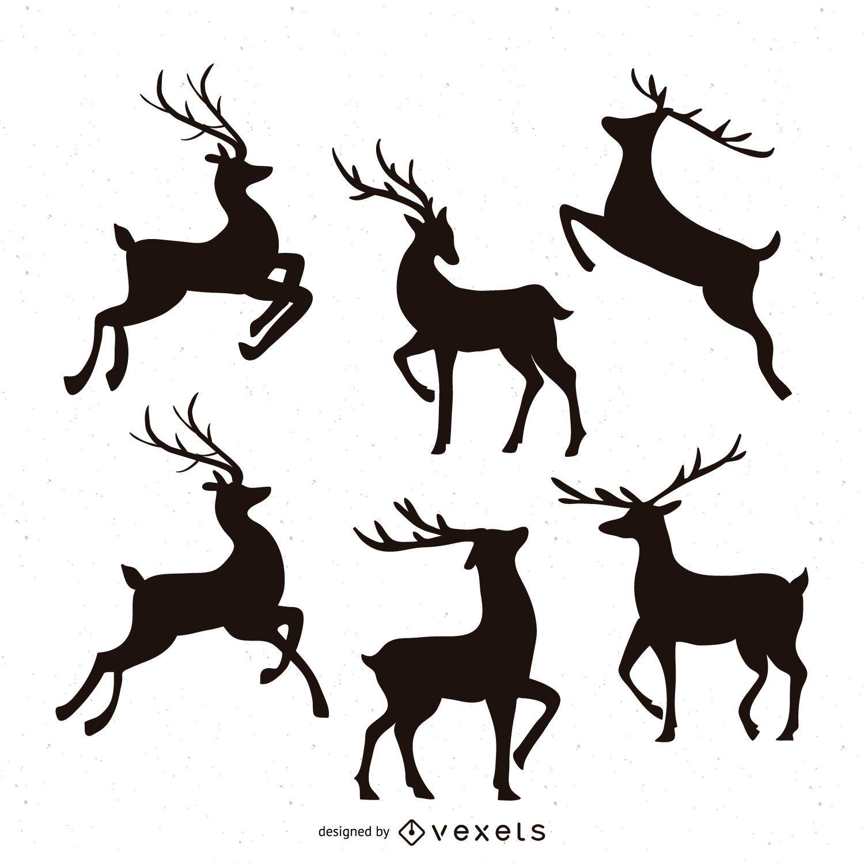 Conjunto de ilustração de silhueta de rena