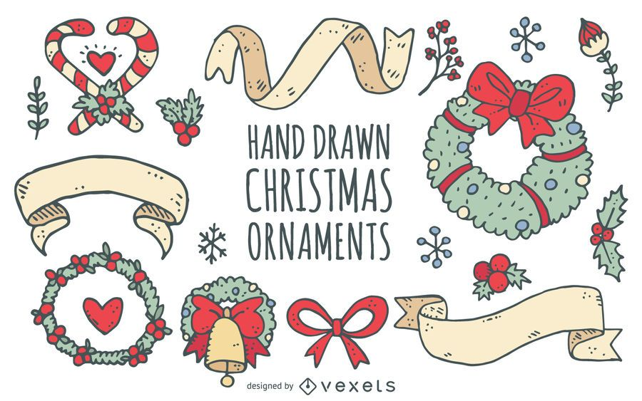 Christmas wreaths ribbons doodle collection
