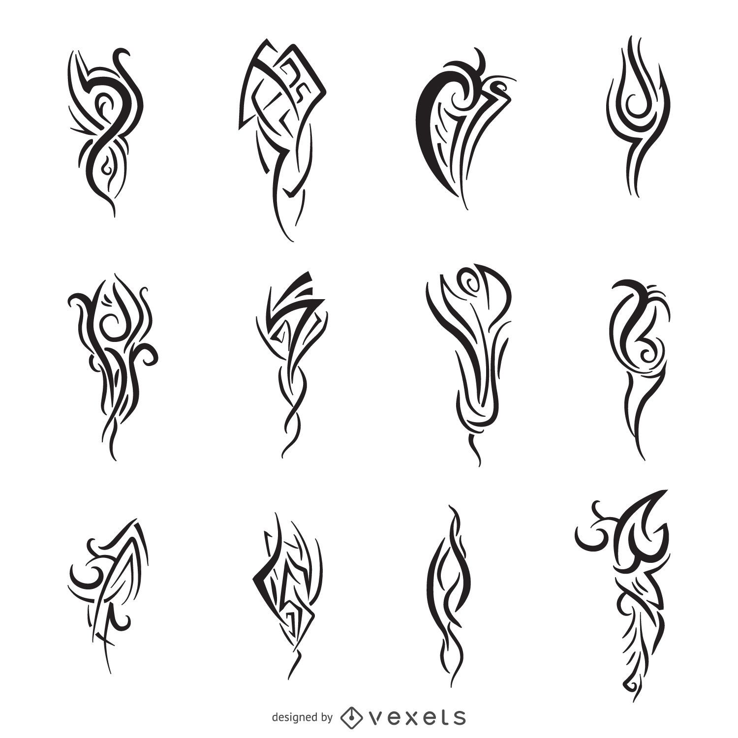Line Art Vector Design : Tribal line art set vector download