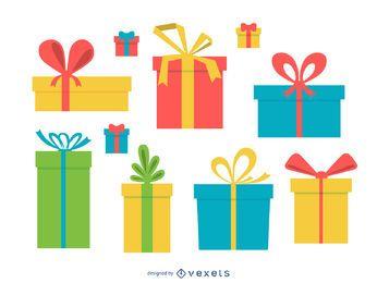 Ilustración de caja de regalo aislada colorida