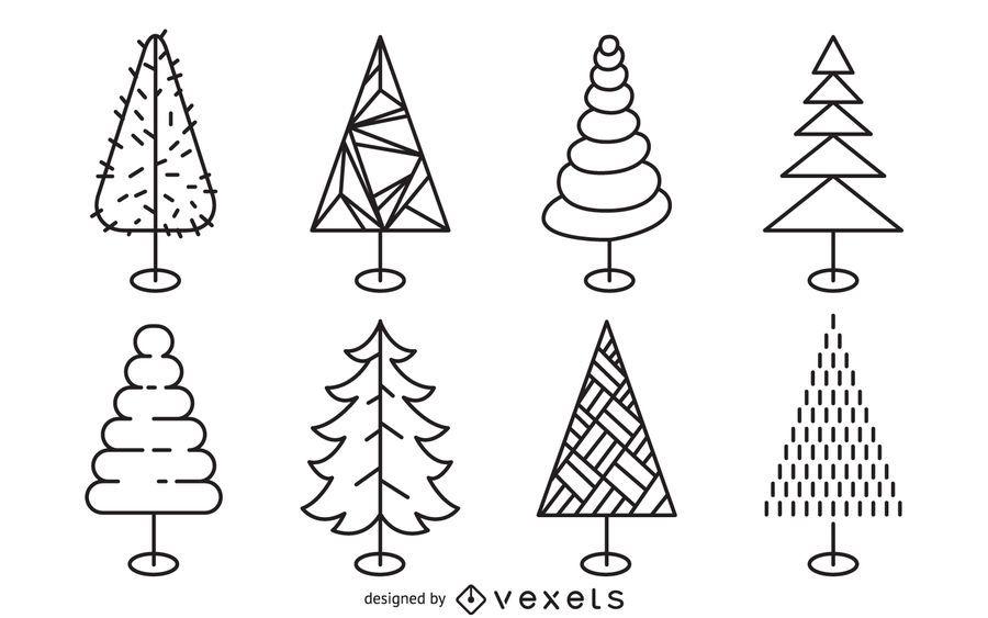 Line Drawing Christmas Tree : Christmas tree line art set vector download