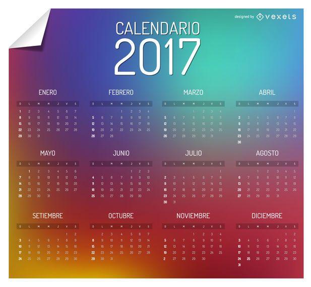 Colorful 2017 calendar in spanish