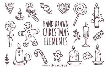 Dibujado a mano lindo elementos de Navidad