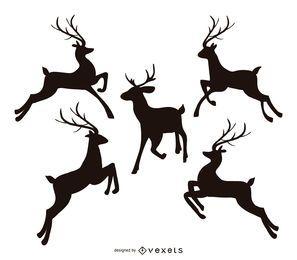 Conjunto de silhueta de rena pulando