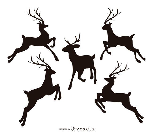 Jumping reindeer silhouette set
