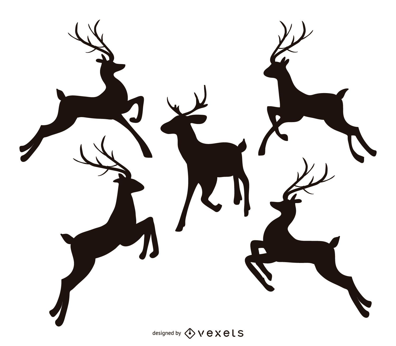 Jumping Reindeer Silhouette Set Vector Download