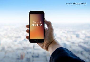 iPhone 7 Plantilla PSD de la mano