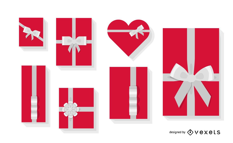 Conjunto de ilustración de caja de regalo plana