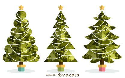 Conjunto de arbol de navidad ilustrado