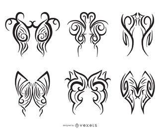 6 ilustrações de arte de linha tribal
