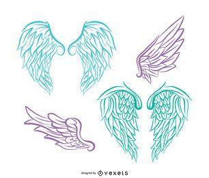 Conjunto de ilustração de asas de anjo realista