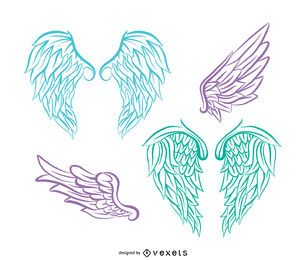 Realistic angel wings illustration set