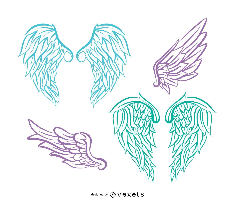 Conjunto de ilustración de alas de ángel realista
