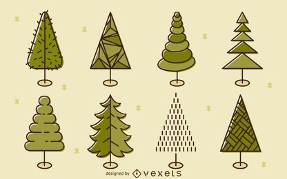Flat green tree illustration set