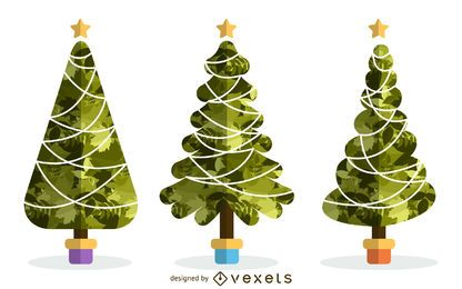 Christmas tree with pattern set