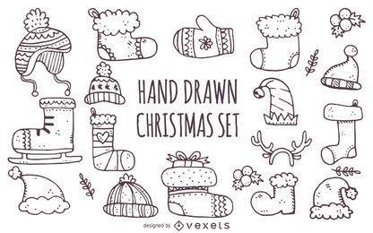 Hand drawn winter Christmas stocking